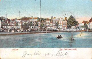 Ansichtkaart Leiden De Beestenmarkt Markt dag Molen 1906 HC22796