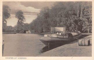 Ansichtkaart Woerden Groet uit 1930 Binnenvaart schip J. Otto Woerden - Rotterdam Scheepvaart Schepen HC22826