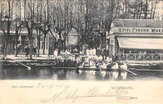 Ansichtkaart Voorburg Hotel Pension Wykerbrug Roeiwedstrijd en volk 1901 's-Gravenhage HC22835