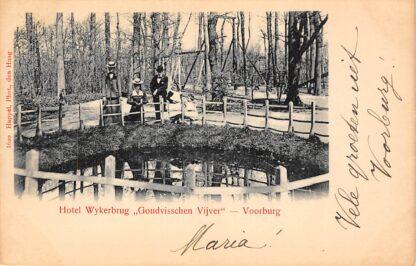 Ansichtkaart Voorburg Hotel Wykerbrug Goudvisschen Vijver 's-Gravenhage HC22836