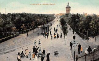 Ansichtkaart Vlissingen Badhuisweg met stoomtram en watertoren Tram HC22837