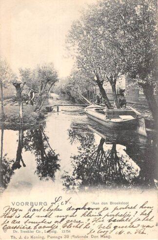 Ansichtkaart Voorburg Aan den Broeksloot met schip 1902 's-Gravenhage HC22840