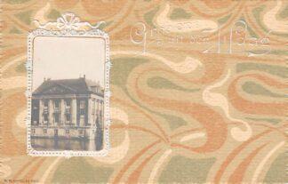 Ansichtkaart 's-Gravenhage Foto Mauritshuis op reliëfkaart Groeten uit den Haag HC22871