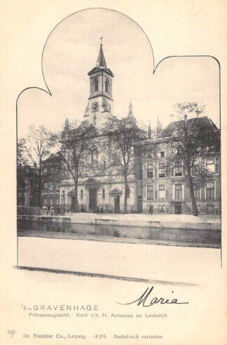 Ansichtkaart 's-Gravenhage Prinsessegracht Kerk v.d. H. Antonius en Lodewijk HC22874