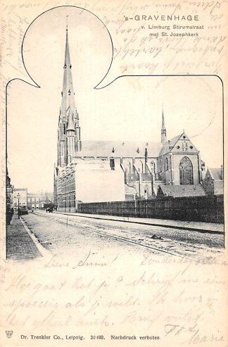 Ansichtkaart 's-Gravenhage v. 'Limburg Stirumstraat met St. Jozeph kerk 1904 HC22883
