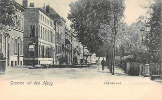 Ansichtkaart 's-Gravenhage Javastraat met op achterzijde reclame Au Bon Marche Handschoenen HC22899