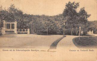 Ansichtkaart 's-Gravenhage Groete uit de Scheveningsche Boschjes Cremer en Verheull Bank 1902 HC22918