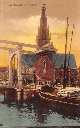 Ansichtkaart Alkmaar Kaasmarkt Binnenvaart schip 1928 HC22933