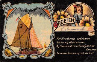 Ansichtkaart Oudewater Groeten uit Snelrewaard met zeilscheepje HC22964