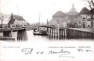 Ansichtkaart Enkhuizen Ooosterhaven met drommedaris en binnenvaart schepen Scheepvaart 1902 HC23104