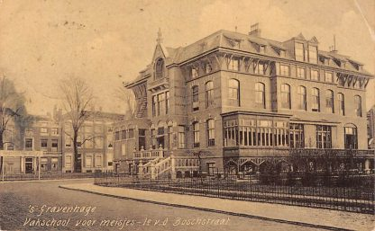 Ansichtkaart 's-Gravenhage 1e v.d. Boschstraat Vak school voor meisjes 1906 HC23186