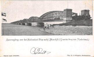 Ansichtkaart Dordrecht Moerdijk Spoorwegbrug over het Hollandsch Diep nabij Moerdijk Grootste brug van Nederland 1904 Stoomtrein Spoorwegen HC23193
