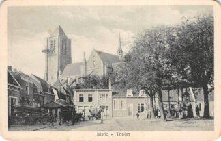 Ansichtkaart Tholen Markt met paard en wagen 1935 HC23265