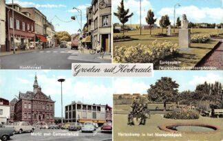 Ansichtkaart Kerkrade Groeten uit 1960 Hoofdstraat Europaplein Markt met Gemeentehuis Hertenkamp in het Niersprinkpark HC23270