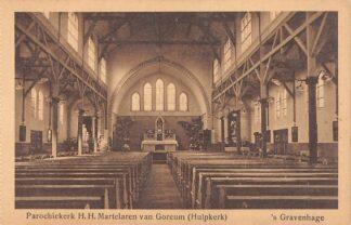 Ansichtkaart 's-Gravenhage v. Beverningstraat Parochie kerk H.H. Martelaten van Gorcum Hulpkerk HC23294