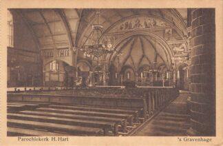 Ansichtkaart 's-Gravenhage Hobbemastraat Parochie kerk H. Hart HC23296