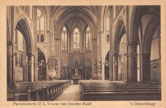 Ansichtkaart 's-Gravenhage Bezuidenhout Parochie kerk O.L. Vrouwe van Goeden Raad HC23297