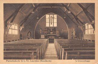 Ansichtkaart 's-Gravenhage Berkenboschblokstraat Parochie kerk O.L.Vr. Lourdes Noodkerk HC23301
