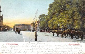 Ansichtkaart 's-Gravenhage Stationsplein Station Spoorwegen 1903 HC23344