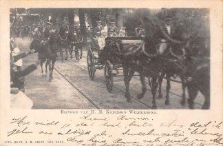 Ansichtkaart 's-Gravenhage Rijtoer van H.M. Koningin Wilhelmina Koningshuis Paard en wagen HC23364
