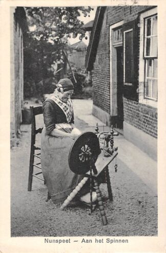 Ansichtkaart Nunspeet Aan het Spinnen Vrouw in klederdracht Boerderij Veluwe HC23419
