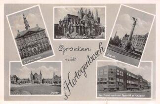 Ansichtkaart 's-Hertogenbosch Groeten uit 1940 Stadhuis Station St. Jan Fontein Kon. School voor Kunst HC23482