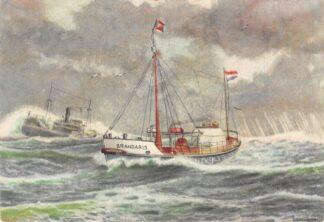 Ansichtkaart Terschelling Motor reddingboot Brandaris terugkeerend met geredden De vloot der Noord- en Zuid-Holl. Redding Mij. No. 5. Scheepvaart Schepen 1955 HC23540