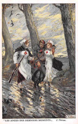 Ansichtkaart België Engeland Frankrijk WO1 1914-1918 Militair Les anges des derniers moments Rode Kruis zuster de engelen van het laatste moment Illustrator J. Thiriar England France Europa HC23632