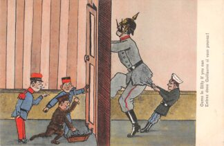 Ansichtkaart België Frankrijk Engeland WO1 1914-1918 Spotprent Kaiser Wilhelm Come in Billy if you can Entrez done Guillaume si vous pouvez! France Deutschland Cartoon Europa HC23635