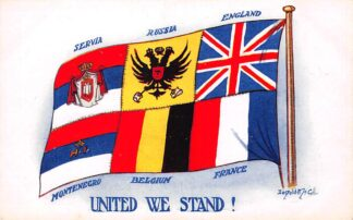 Ansichtkaart België Montenegro Servië Rusland Engeland Frankrijk WO1 1914-1918 United we stand! Illustrator Donald Mc. Gill Militair Servia Russia England France Europa HC23638