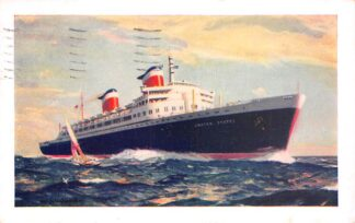 Ansichtkaart USA New S.S. United States 1955 Scheepvaart Schepen Noord-Amerika HC23651
