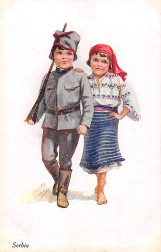 Ansichtkaart Servië Engeland A Vivian Mansell vintage postcard Militair Serbia England Fantasie Europa HC23665