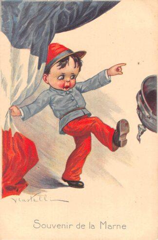 Ansichtkaart Italië Frankrijk WO1 1914-1918 Souvenir de la marne Cartoon Spotprent Illustrator V. Castelli Italia France Europa HC23686
