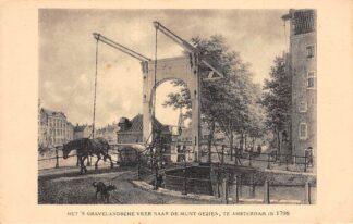 Ansichtkaart Amsterdam Het 's-Gravelandsche Veer naar de Munt gezien in 1798 Reclame Patria Petit Beurre Verkade Den Bosch HC23709