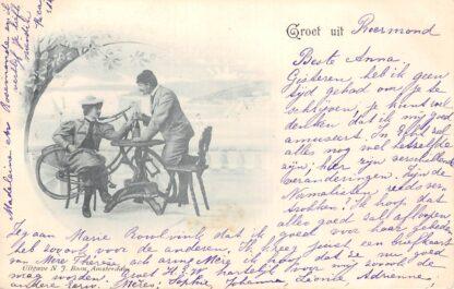 Ansichtkaart Roermond Groet uit 1899 Stel met fiets Fantasie HC23753