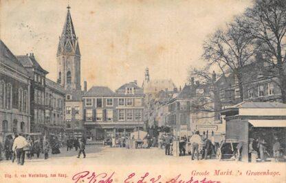 Ansichtkaart 's-Gravenhage Groote Markt 1903 Marktdag HC23757