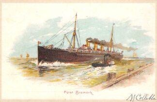 Ansichtkaart Duitsland Furst Bismarck met sleepboot 1900 Scheepvaart schepen Deutschland Europa HC23771