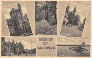 Ansichtkaart Wageningen Lexkesveer Hoogstraat Bergstraat Holleweg Uitzichttoren Markt 1936 HC23804