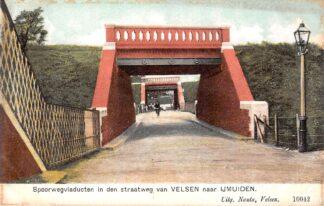 Ansichtkaart Velsen Spoorwegviaducten in den straatweg van Velsen naar IJmuiden Nauta 10042 Spoorwegen HC23846