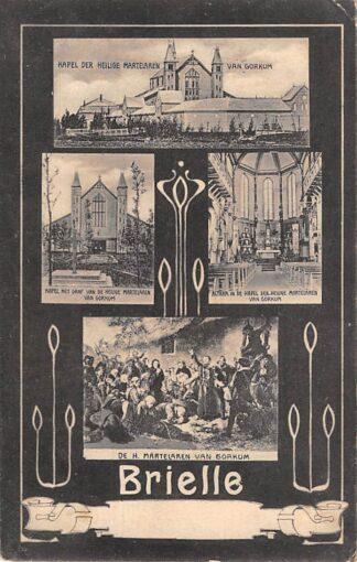 Ansichtkaart Brielle Kerk der Heilge Martelaren van Gorkum Interieur 2x en Exterieur 2x 1906 C23865