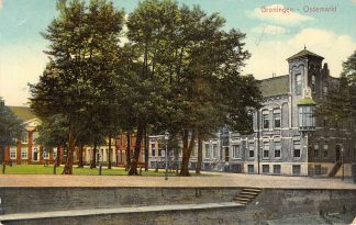 Ansichtkaart Groningen Ossemarkt Kleinrondstempel Grijpskerk 1910 HC23930