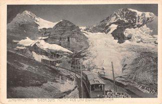 Ansichtkaart Zwitserland Jungfraubahn Eiger 3975 Monch 4105 Eigergletscher Trein Spoorwegen Schweiz Suisse Switzerland Europa HC23963