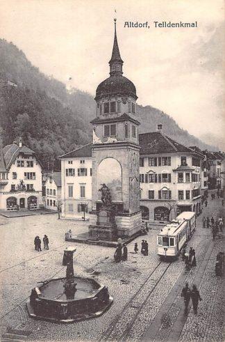 Ansichtkaart Zwitserland Altdorf Telldenkmal Tram Schweiz Suisse Switzerland Europa HC23966