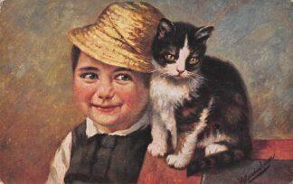 Ansichtkaart Fantasie Illustrator Gerstenhauer Jongen met poes Reclame Heeren- en Kinderkleeding A.J.L. v.d. Veer Lange Tiendeweg 3, Gouda HC23970
