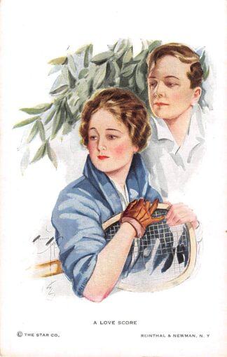 Ansichtkaart Fantasie A love score Illustrator Harrison Fisher Reinthal & Newman No. 839 Tennis sport HC23986