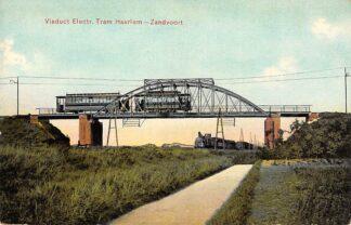 Ansichtkaart Haarlem Zandvoort Viaduct Electr. Tram en Stoomtrein Spoorwegen Treinen 1906 HC24014