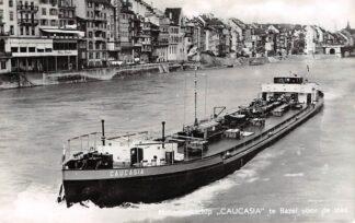Ansichtkaart Zwitserland Motortankschip Caucasia te Basel voor de stad PHs. Van Ommeren N.V. Rotterdam Schweiz Suisse Switzerland Europa Scheepvaart Schepen 1960 HC24023