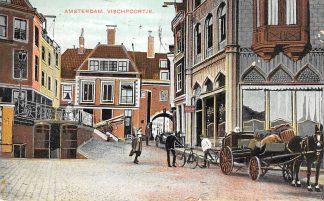 Ansichtkaart Amsterdam Vischpoortje Paard en wagen 1908 HC24040