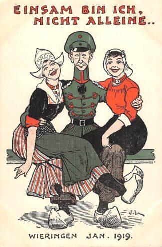 Ansichtkaart Duitsland WO1 1914-1918 Wieringen Cartoon Spotprent Kroonprins Wilhelm gevlucht naar Nederland Einsam bin Ich, nicht alleine... Jan. 1919 Deutschland Europa HC24048