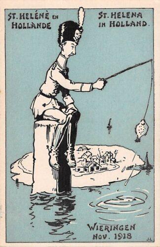 Ansichtkaart Duitsland WO1 1914-1918 Spotprent Kroonprins Wilhelm gevlucht naar Wieringen in Nederland St. Helena in Holland Deutschland Europa HC24050